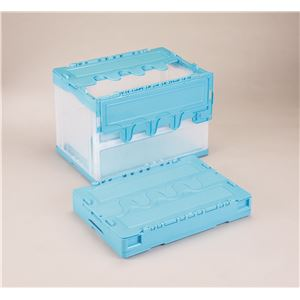 フタ付き折りたたみコンテナ/オリコン 【60L/ブルー透明】 CF-S61NR 岐阜プラスチック工業
