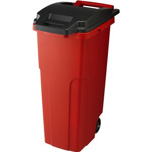 【3セット】 可動式 ゴミ箱/キャスターペール 【70C2 2輪】 レッド フタ付き 〔家庭用品 掃除用品〕