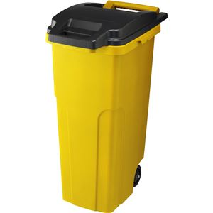 【3セット】 可動式 ゴミ箱/キャスターペール 【70C2 2輪】 イエロー フタ付き 〔家庭用品 掃除用品〕