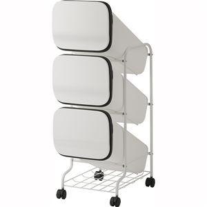 スタンド式 ダストボックス/ゴミ箱 【ホワイト 19L×3段】 高さ97cm キャスター付き 『スムース』