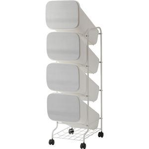 スタンド式 ダストボックス/ゴミ箱 【メタル 19L×4段】 高さ122cm キャスター付き 『スムース』