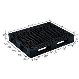 岐阜プラスチック工業 プラスチックパレット J-D4・1109 片面仕様ブラック 1100×900mm