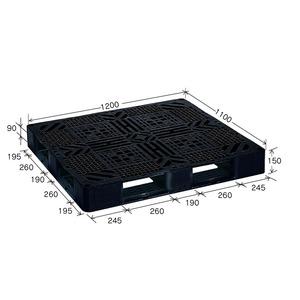 岐阜プラスチック工業 プラスチックパレット J-D4・1211 片面仕様ブラック 1200×1100mm