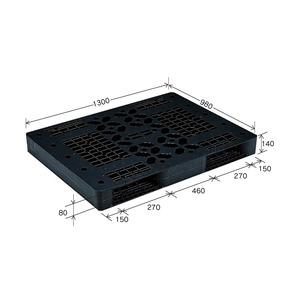 岐阜プラスチック工業 プラスチックパレット JL-R2・1013 両面仕様ブラック 980×1300mm