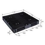 岐阜プラスチック工業 高強度プラスチックパレット JH-R2・1111C 両面仕様ブラック 1100×1100mm 自動倉庫対応