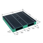 カラープラスチックパレット/物流資材 【1100×1100mm ブラック/グリーン】 両面使用 HB-R2・1111SC 自動倉庫対応 岐阜プラスチック工業の画像