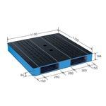 カラープラスチックパレット/物流資材 【1100×1100mm ブラック/ブルー】 両面使用 HB-R2・1111SC 自動倉庫対応 岐阜プラスチック工業の画像
