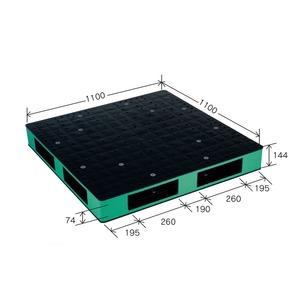 岐阜プラスチック工業 カラープラスチックパレット HB-R4・1111SC ブラック/グリーン 両面仕様 1100×1100mm