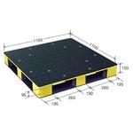 カラープラスチックパレット/物流資材 【1100×1100mm ブラック/イエロー】 片面使用 HB-D4・1111SC 岐阜プラスチック工業の画像