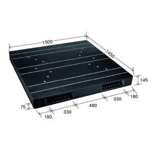 岐阜プラスチック工業 大型プラスチックパレット JCK-R2・145150 ブラック 両面使用 1450×1500mm