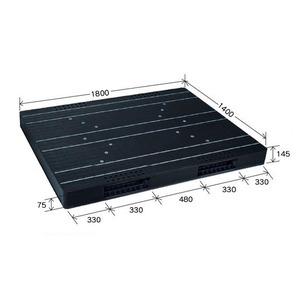 岐阜プラスチック工業 大型プラスチックパレット JCK-R2・140180 ブラック 両面使用 1400×1800mm