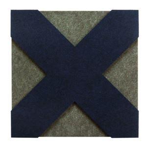 防音フェルトボード 3Dレイヤー吸音パネル(クロス) 40×40cm ブルー【単品】