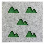 防音フェルトボード 3Dレイヤー吸音パネル(山 ) 40×40cm グリーン【単品】