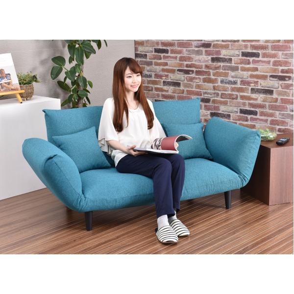コンフォートソファー インディゴ色 日本製  二人掛け ポケットコイル カウチ ソファーベッド