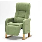 楽々くつろぎチェアデラックス/リクライニングチェア 【グリーン】 肘付き 座面高:4段階調節可