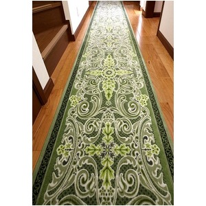 グレースオーナメント廊下敷 抗菌防臭 80×700cm グリーン 日本製 マット