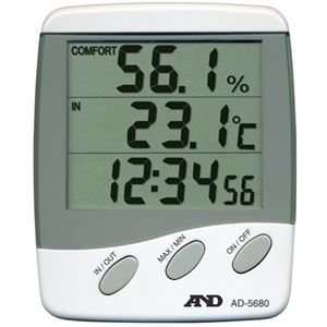 (まとめ) エーアンドデイ 時計付デジタル温湿度計 AD5680【×3セット】