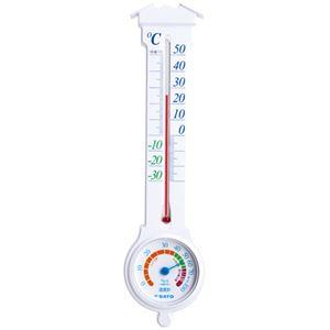 (まとめ) 佐藤計量器 温湿度計 ミルノEXホワイト 1031-00【×10セット】