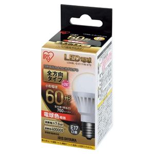 (まとめ)アイリスオーヤマLED電球60W全方向電球LDA8L-G-E17/W-6T5【×5セット】