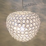 リンゴ型ガラスペンダントライト/吊り下げ型照明器具 【Ringo】 直径23cm×高さ19cm クリア CPL-1636-CL