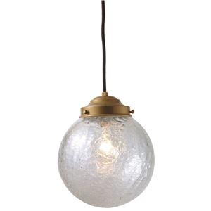 球型ガラスペンダントライト/吊り下げ型照明器具 【P200ヒビ クリア】 直径20cm×高さ20cm コンパクト  - 拡大画像