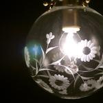 球型ガラスペンダントライト/吊り下げ型照明器具 【P138切子 菊/キク】 直径13.8cm×高さ22cm CPL-100-1KIKU