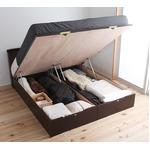 国産 ガス圧 跳ね上げ式ベッド(ポケットコイルマットレス付き)セミダブル  ブラウン