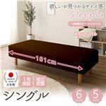 【組立設置費込】日本製 ショート丈 脚付きマットレスベッド ポケットコイル(硬さ:レギュラー) シングル 20cm脚 『Sleepia』スリーピア ブラウン