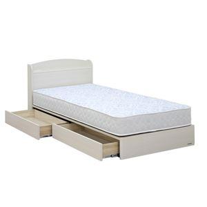 日本製 引き出し付き 宮付き シングルベッド 5.5ポケットコイルマットレス(ハード)付き ホワイト 『ミルキー』の写真1