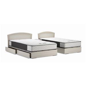 日本製 引き出し付き シングルベッド 5.5ポケットコイルマットレス(ハード)付き ホワイト 『グローリー』の写真1