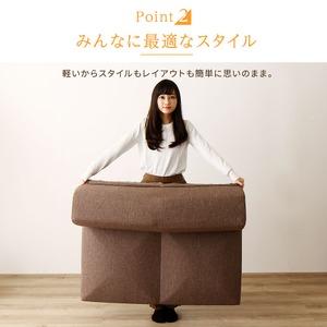 日本製 洗える カバーリング コーナーフロアソファー 3点セット 『Korot』コロット  ブラウン ダリアン生地 こたつ対応 の画像