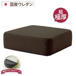 極厚 低反発クッション/インテリア雑貨 【スクエアタイプ ブラウン】 洗えるカバー 日本製ウレタン使用 『Pastel』
