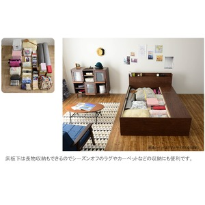 選べる収納ベッド シングル(フレームのみ) (ハイタイプ:引出し大×1・引出し小×2)ブラウン