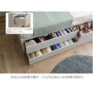 選べる収納ベッド シングル(ポケットコイルマットレス付き) (ハイタイプ:引出し大×1・引出し小×2)ナチュラル