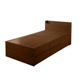 選べる収納ベッド シングル(ポケットコイルマットレス付き)(ハイタイプ:引出し大×1・引出し小×4) ブラウン - 拡大画像