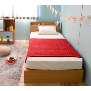 選べる収納ベッド シングル(フレームのみ) (ロータイプ:引出し×2)ナチュラル - 拡大画像