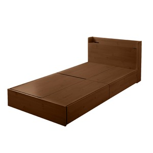 選べる収納ベッド シングル(ポケットコイルマットレス付き)(ロータイプ:引出し×2) ブラウン