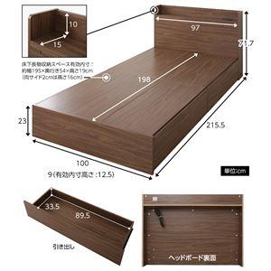 大容量 引き出し収納ベッド シングル (フレームのみ) 『ネクロ』 ダークナチュラル