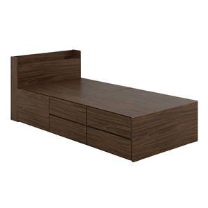 VICE(ヴィース) 収納付きベッド(収納3分割/ハイタイプ) シングルブラウン【組立品】