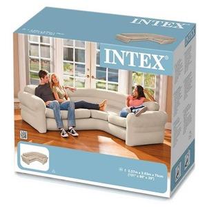 コーナーソファー/エアーソファー 【耐荷重400kg】 バックレスト付き コンパクト収納『INTEX』