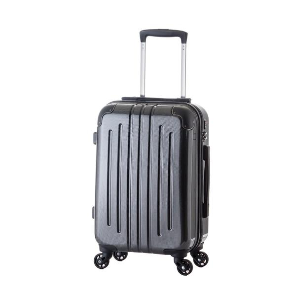 【機内持ち込み可】 軽量スーツケース/キャリーバッグ 【カーボンブラック】 29L 2.6kg ファスナー 大型キャスター TSAロックf00