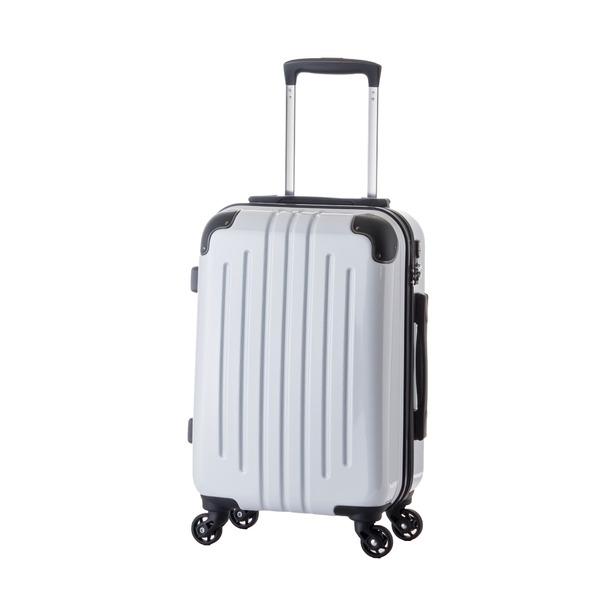 【機内持ち込み可】 軽量スーツケース/キャリーバッグ 【カーボンホワイト】 29L 2.6kg ファスナー 大型キャスター TSAロックf00
