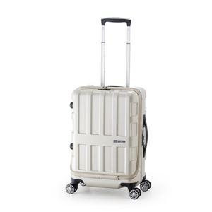 フロントオープン式スーツケース/キャリーバッグ 【パールホワイト】 36L 機内持ち込み可能サイズ アジア・ラゲージ 『MAX BOX』