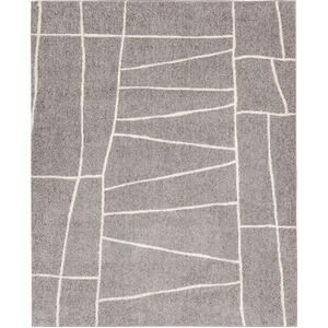 ラグマット カーペット 長方形 ホットカーペット対応 日本製 『ジオーニ』 ライトグレー 130×190cm - 拡大画像
