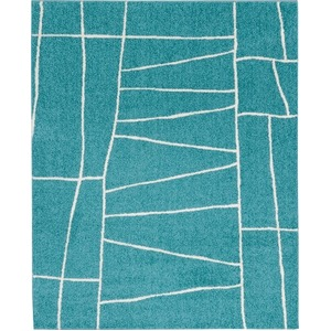 ラグマット カーペット 正方形 ホットカーペット対応 日本製 『ジオーニ』 ターコイズ 190×190cm - 拡大画像