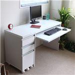鏡面パソコンデスク/PCデスク 【ハイタイプ 2点セット】 ホワイト 幅90cm 収納チェスト付き スライドテーブル UV塗装