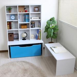 デスク付き収納シェルフ/書棚付パソコンデスク 【ロータイプ ブルー/ホワイト】 幅89cm 格納式デスク 収納BOX付き