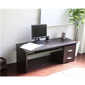 パソコンデスク/文机 【ロータイプ 幅120cm】 ブラウン ダブルスライドテーブル仕様 引き出し収納付き
