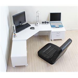 パソコンデスク/L字型コーナーデスク 【ロータイプ 3点セット】 座卓タイプ 省スペース ホワイト