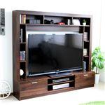 テレビ台 ハイタイプ 壁面家具 リビング壁面収納 60インチ対応 TV台 ブラウン